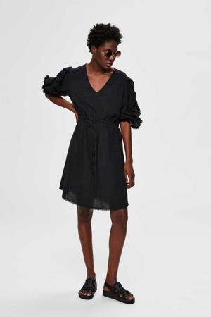 jurk met ruches zwart