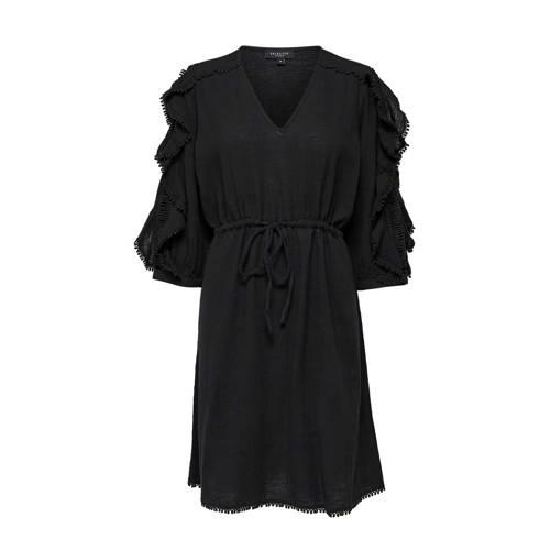 SELECTED FEMME jurk met ruches zwart