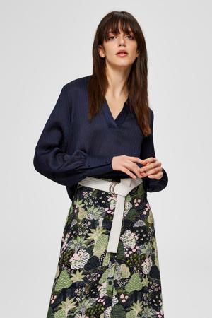 blouse met v-hals donkerblauw
