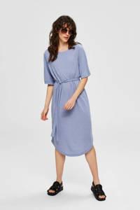 SELECTED FEMME jersey jurk met ceintuur blauw, Blauw