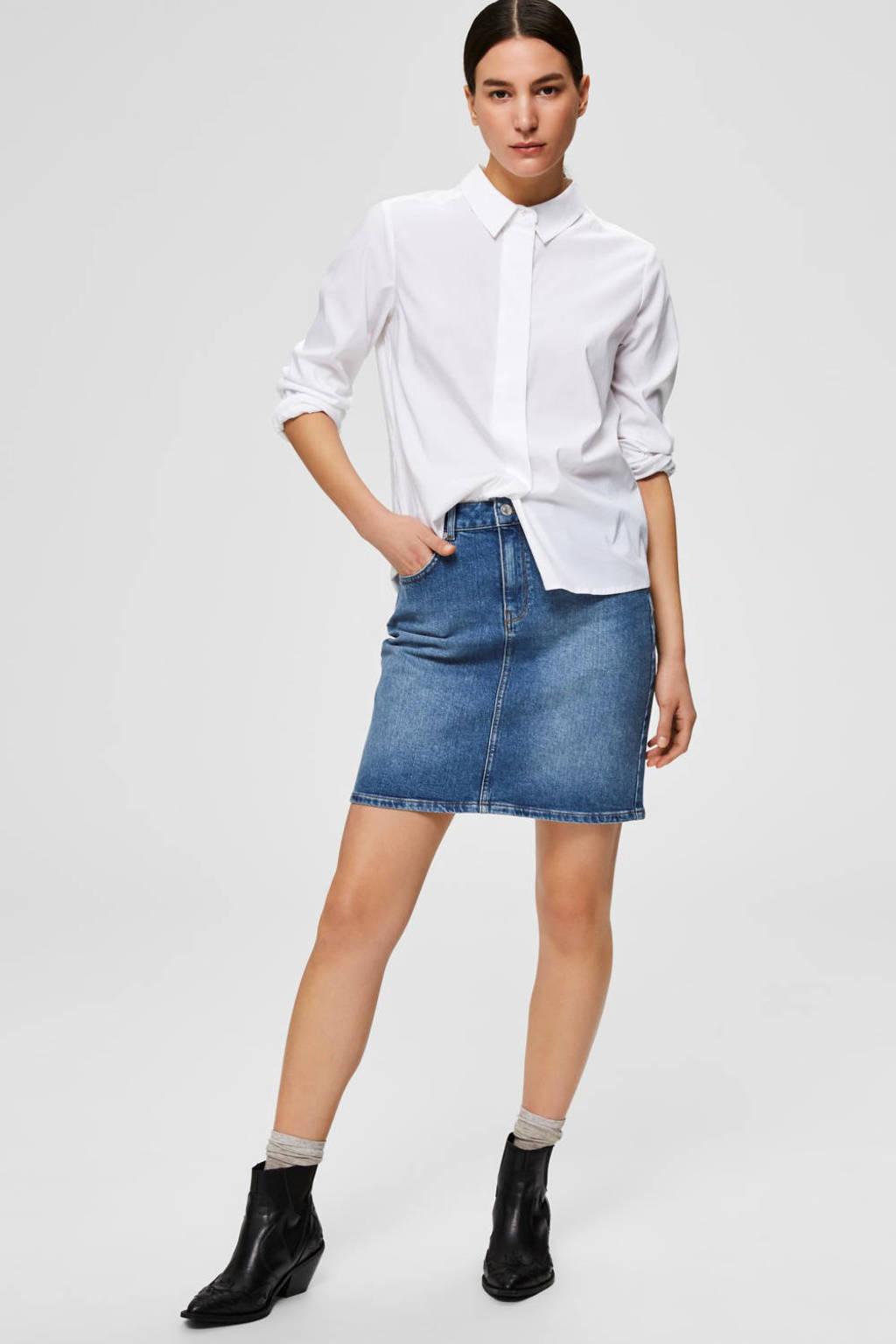 SELECTED FEMME spijkerrok SLFKENNA medium blue denim, Blauw