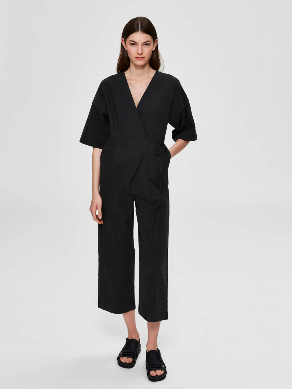 SELECTED FEMME jumpsuit met linnen zwart, Zwart