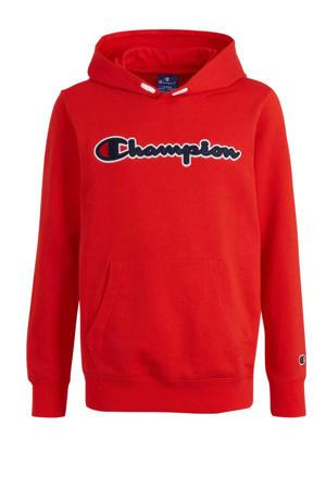 hoodie met logo en borduursels rood/donkerblauw/wit