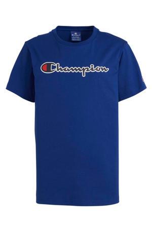 T-shirt met logo en borduursels blauw/rood/wit