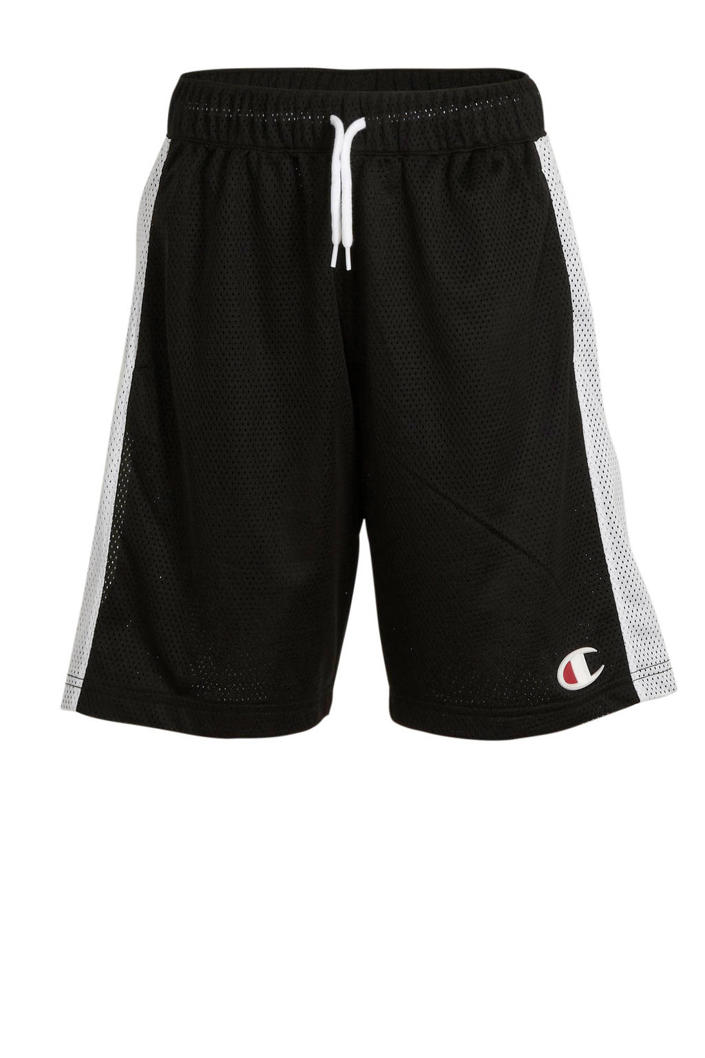 Champion loose fit short met logo zwart/wit, Zwart/wit