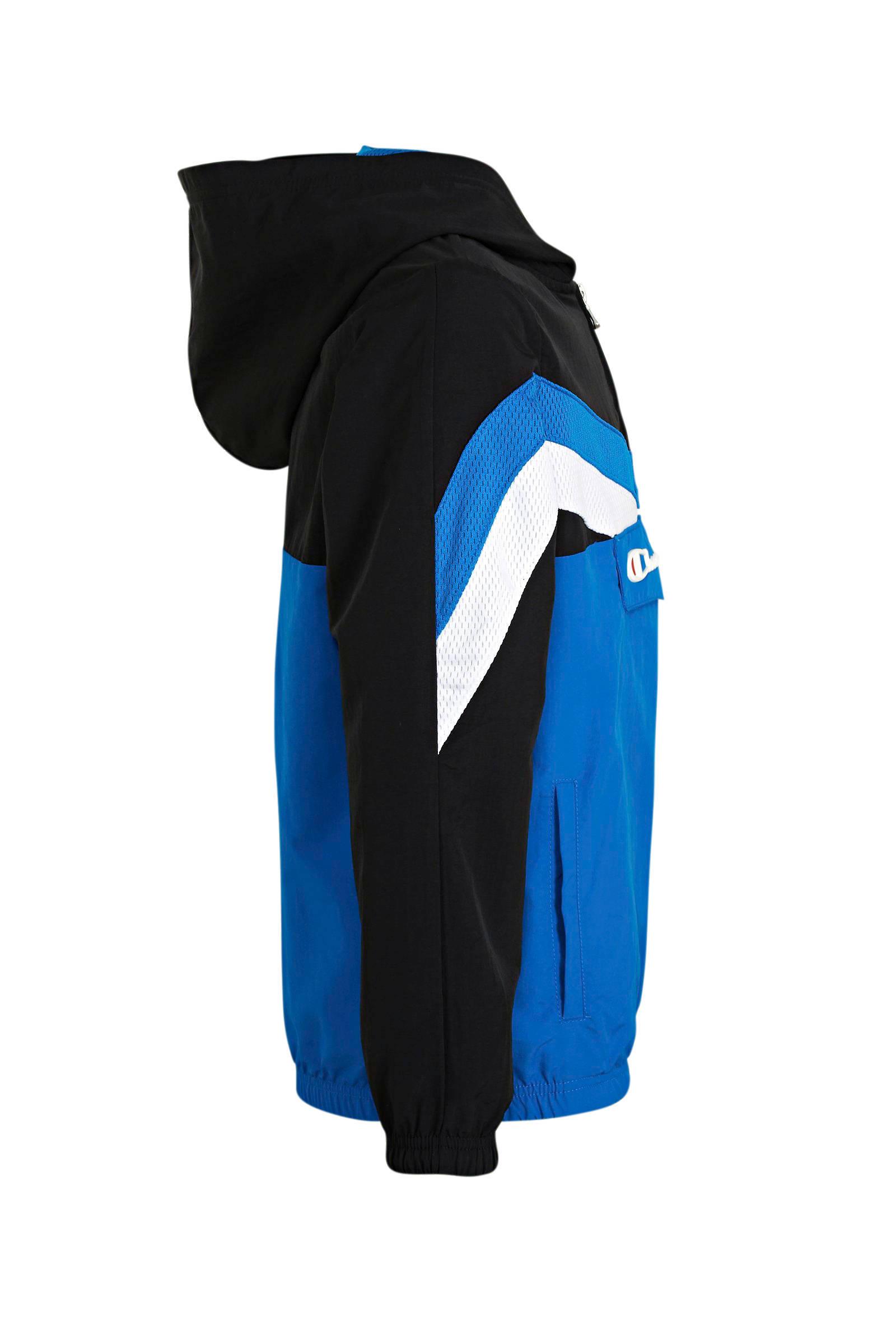 Champion anorakzomerjas met logo zwartblauwwit | wehkamp