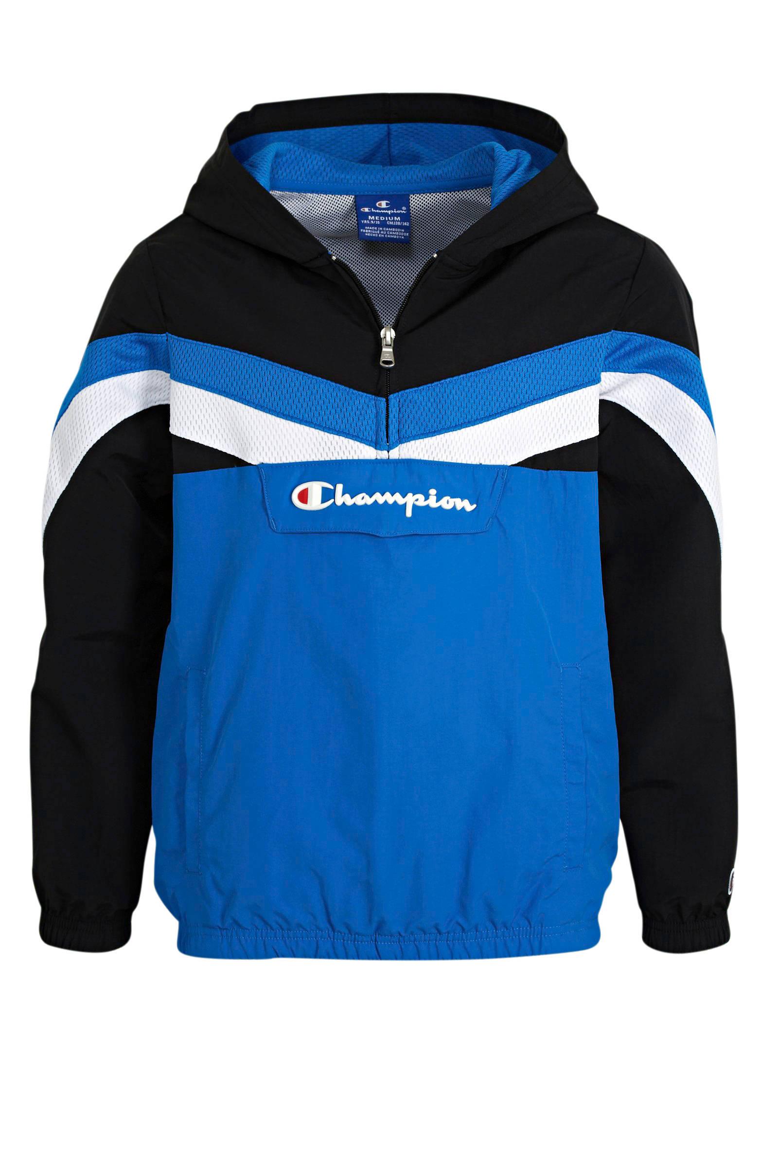 anorakzomerjas met logo zwartblauwwit