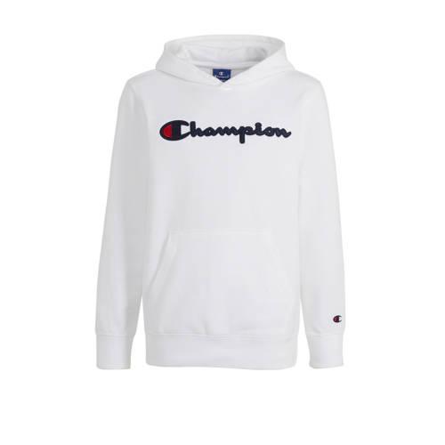 Champion hoodie met logo en borduursels wit/donker