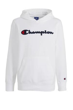 hoodie met logo en borduursels wit/donkerblauw/rood