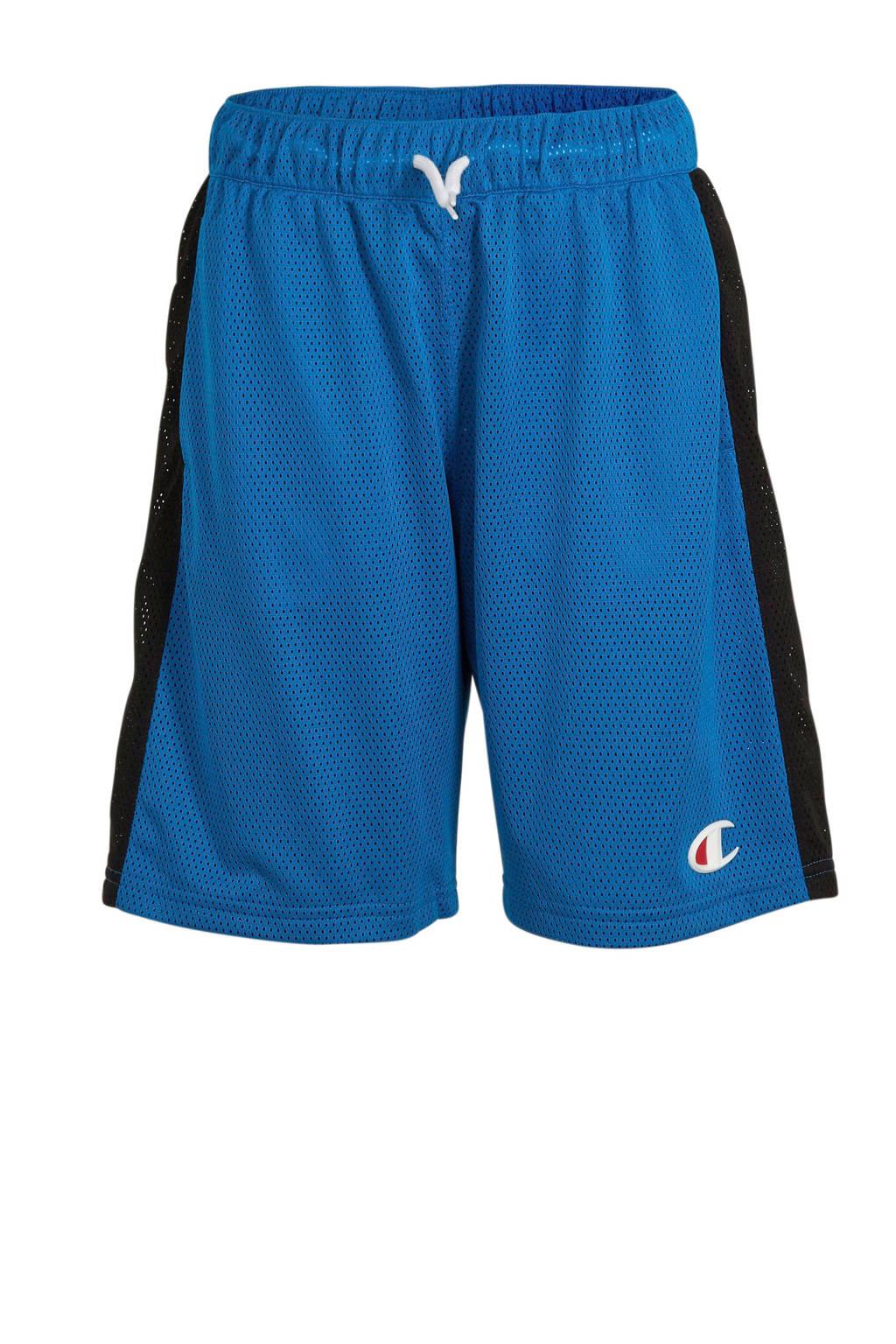 Champion short met logo blauw/zwart, Blauw/zwart