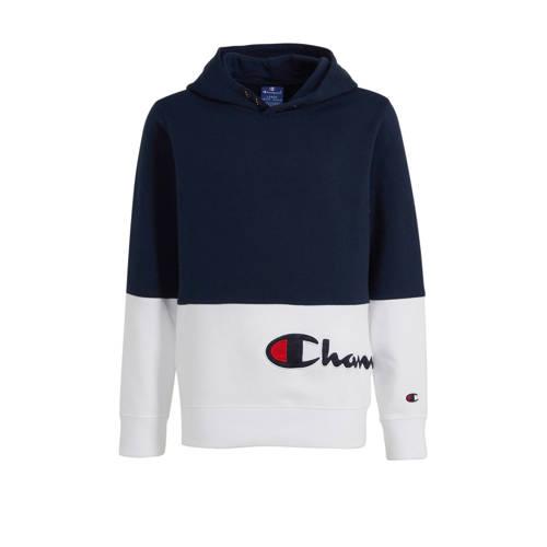 Champion hoodie met logo en borduursels donkerblau
