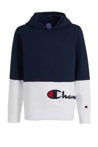Champion hoodie met logo en borduursels donkerblauw/wit/rood, Donkerblauw/wit/rood
