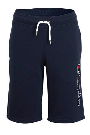 sweatshort met logo donkerblauw