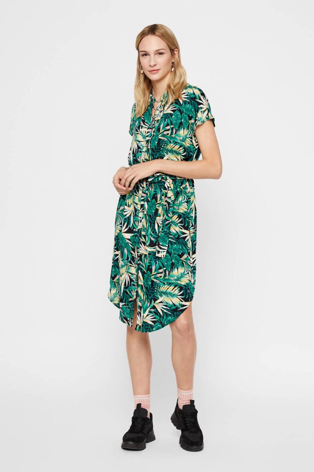 PIECES blousejurk met all over print en ceintuur groen, Groen
