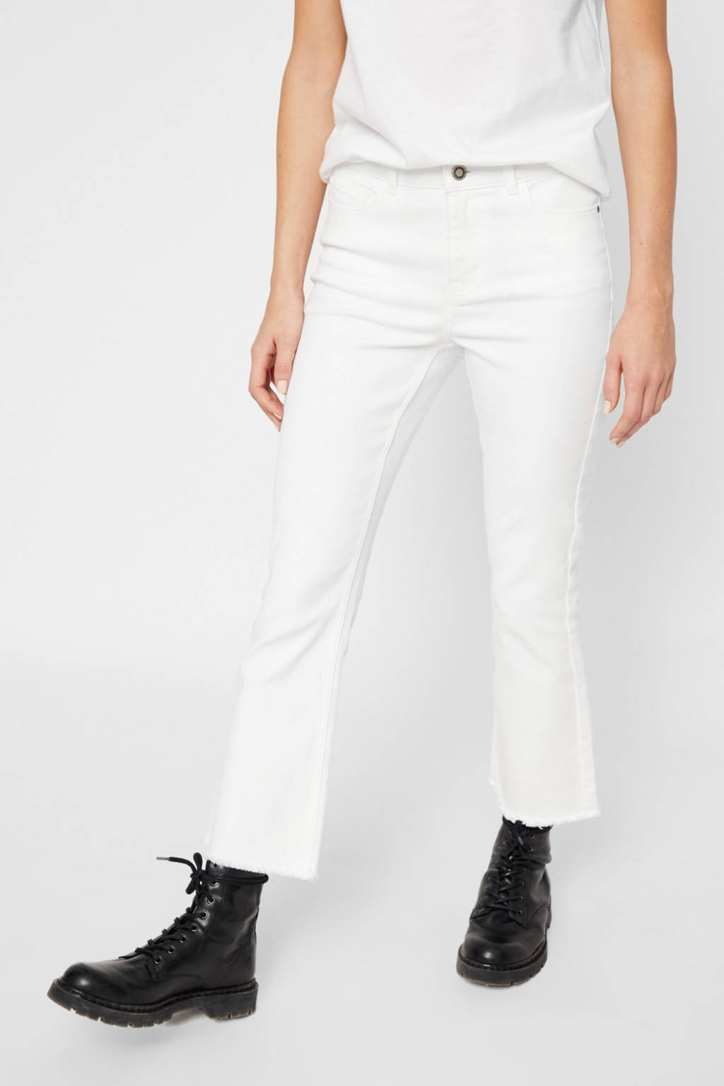 PIECES cropped bootcut jeans wit, Wit