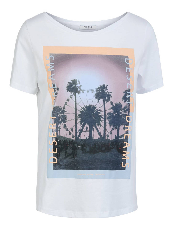 PIECES T-shirt met printopdruk wit, Wit