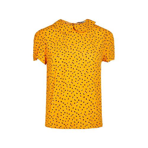PIECES top met all over print geel/zwart