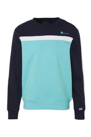 sweater wit/marine/turqouise
