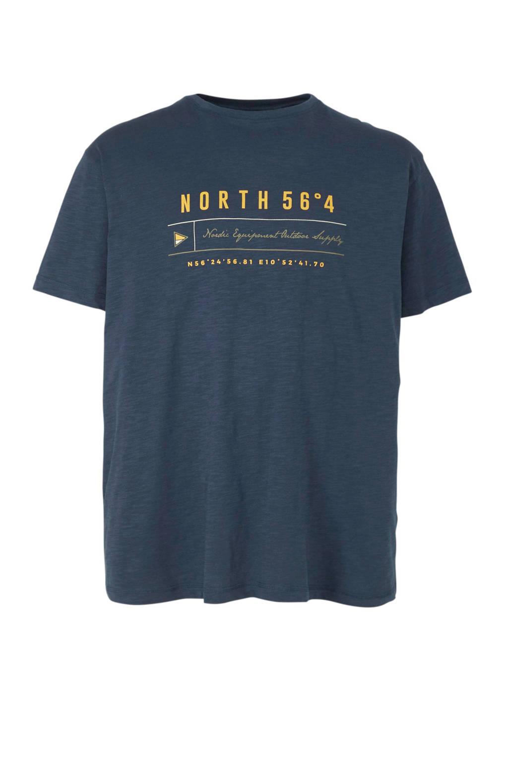 North 56°4 +size T-shirt met printopdruk marine, Marine