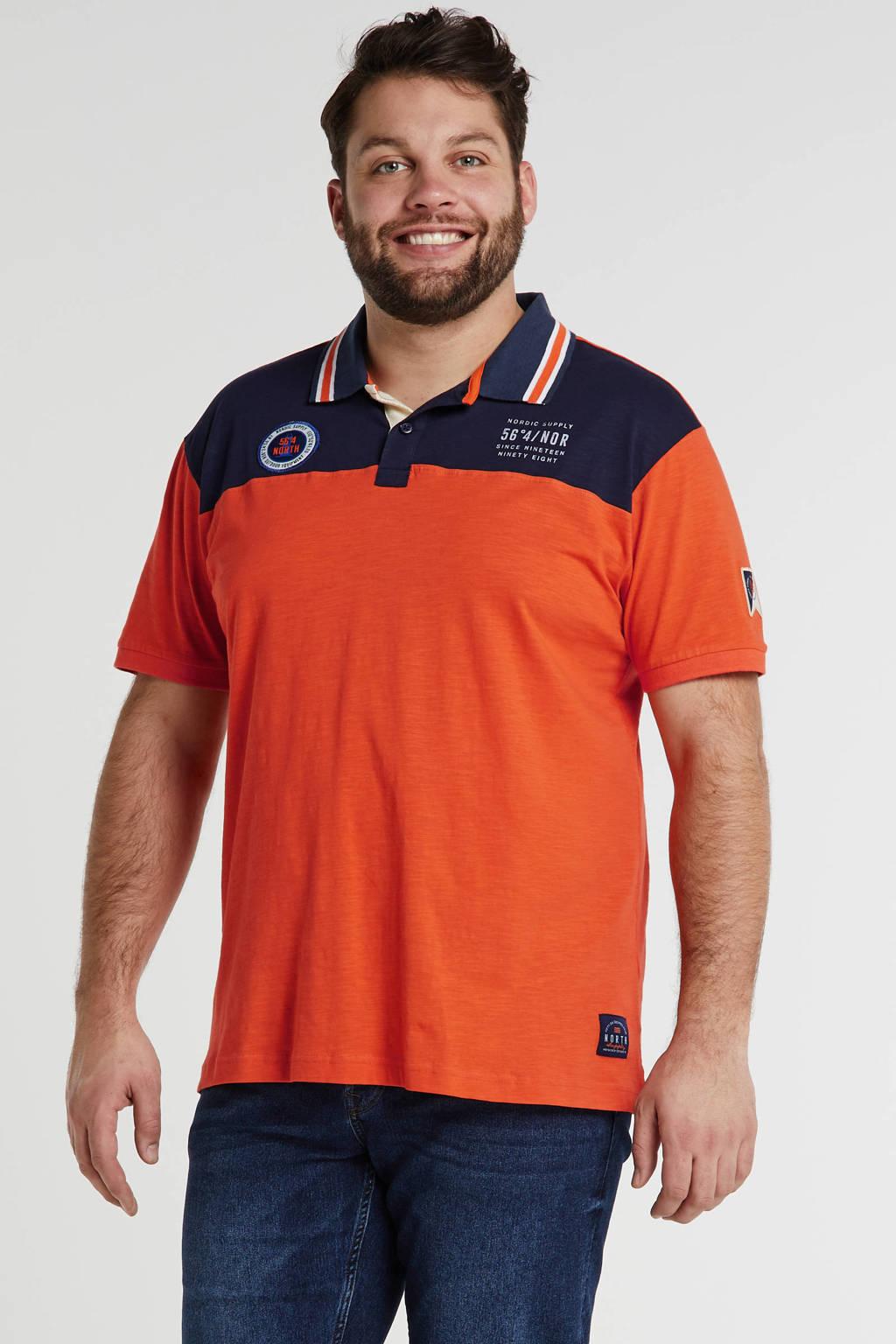 North 56°4 +size regular fit polo met logo oranje, Oranje