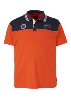 +size regular fit polo met logo oranje