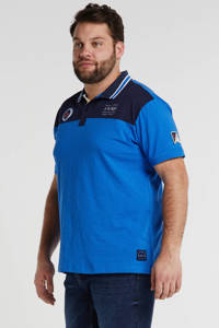 North 56°4 +size regular fit polo met logo mid blue, Mid blue