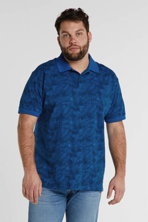 +size regular fit polo met bladprint mid blue