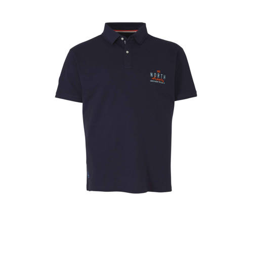 North 56??4 +size regular fit polo met logo navy