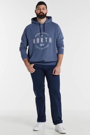 +size hoodie met printopdruk blauw