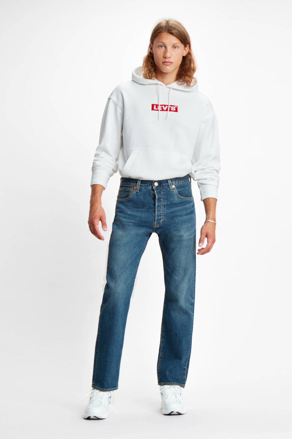 Levi's hoodie relaxed fit met logo wit, Wit