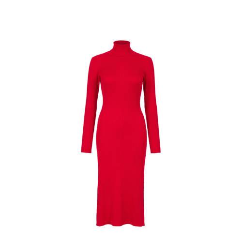 Steps gebreide jurk met lange mouw en col rood