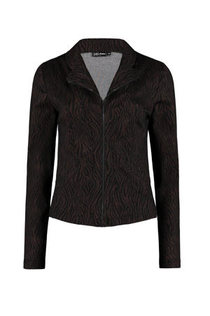 jasje met dierenprint zwart/brons