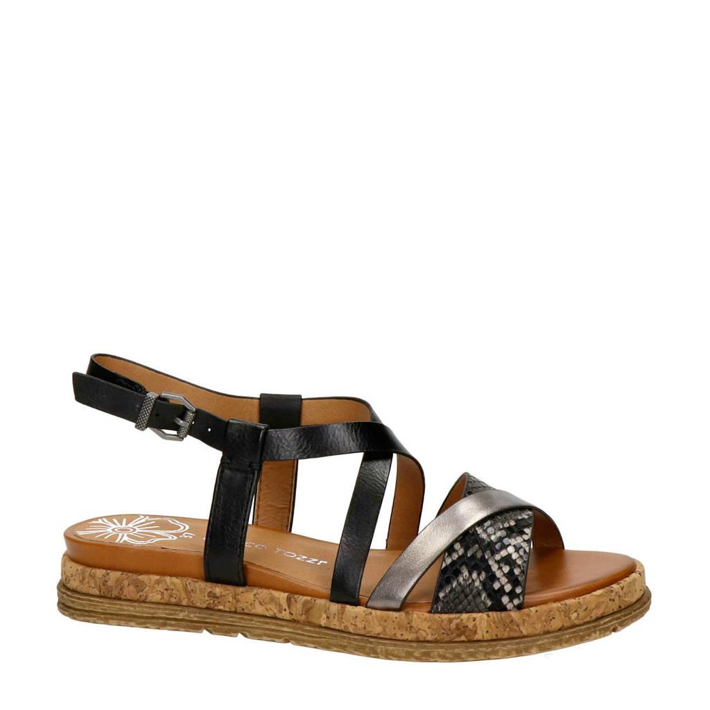 Marco Tozzi   sandalen zwart/zilver, Zwart