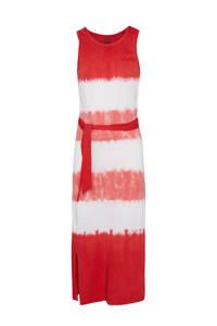 WE Fashion regular fit maxi jurk rood/wit, Rood/wit