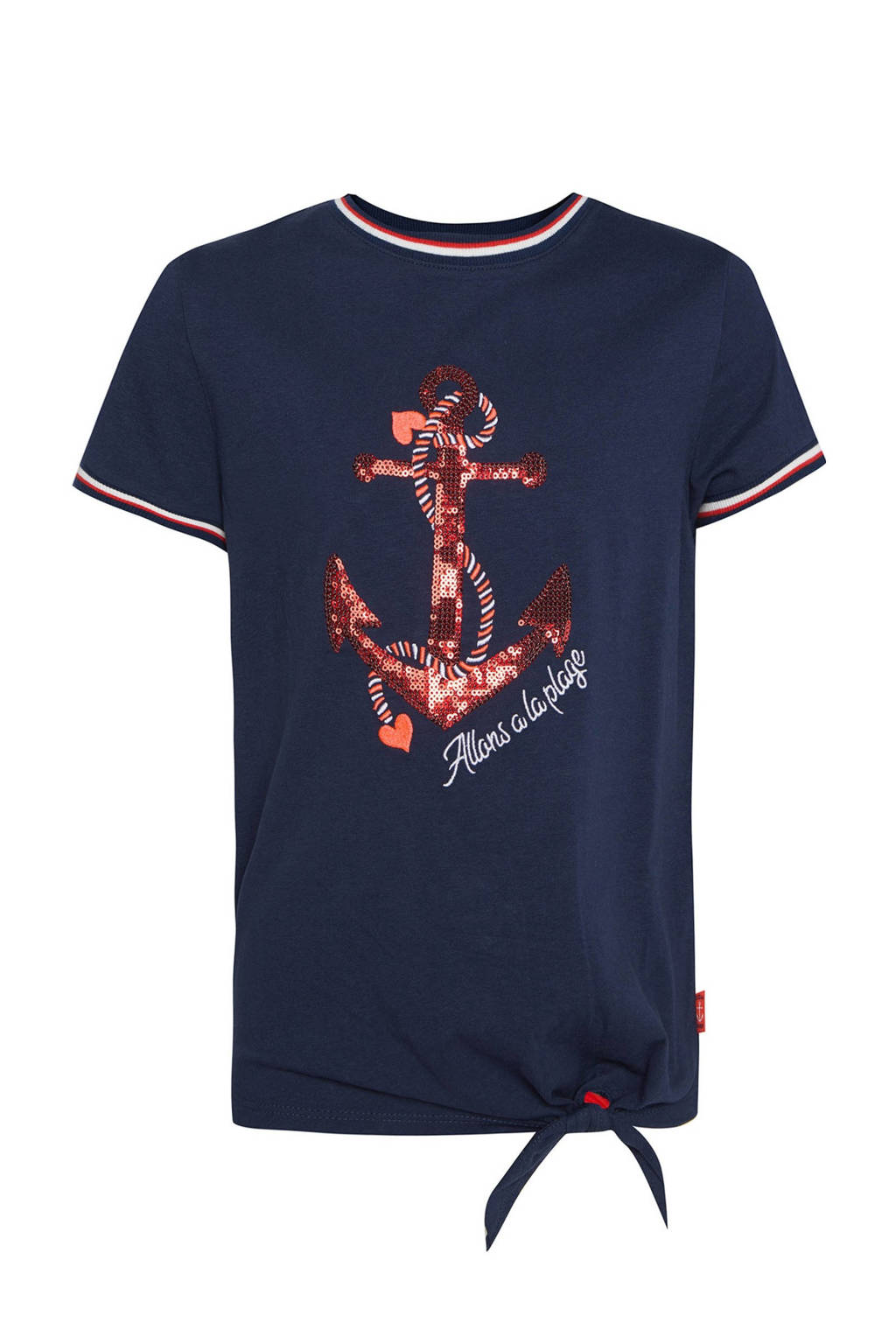 WE Fashion regular fit T-shirt met printopdruk en pailletten donkerblauw/rood/wit, Donkerblauw/rood/wit