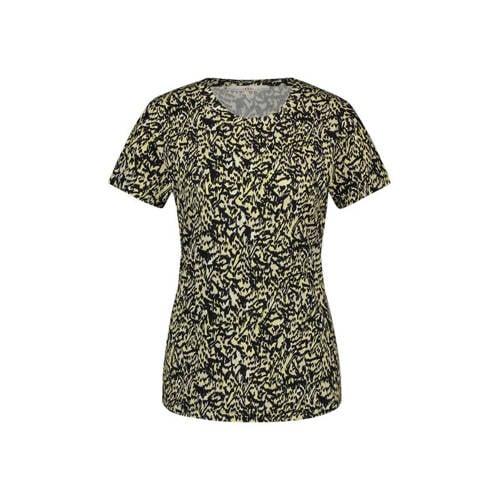 Aaiko T-shirt Alicia met all over print geel/zwart