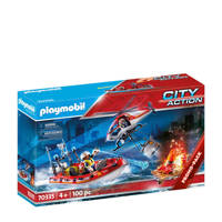 Playmobil City Actio Brandweermissie met helikopter en boot 70335