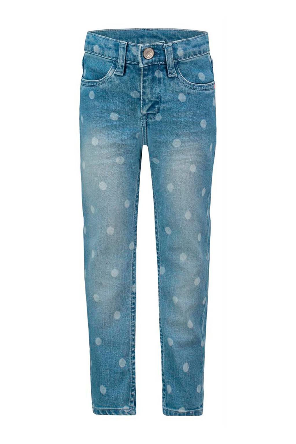 Noppies regular fit jeans Clinton met stippen light denim/wit, Light denim/wit
