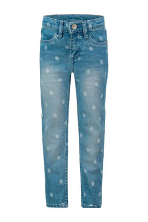 regular fit jeans Clinton met stippen light denim/wit