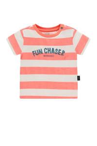Noppies baby gestreept T-shirt Marshall met biologisch katoen zalm/wit/donkerblauw, Zalm/wit/donkerblauw