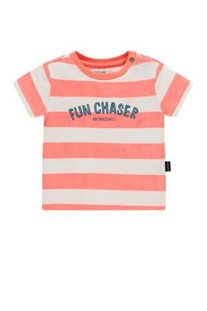 baby gestreept T-shirt Marshall met biologisch katoen zalm/wit/donkerblauw