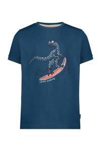 Noppies T-shirt Janesboro met printopdruk donkerblauw/wit/koraalrood, Donkerblauw/wit/koraalrood