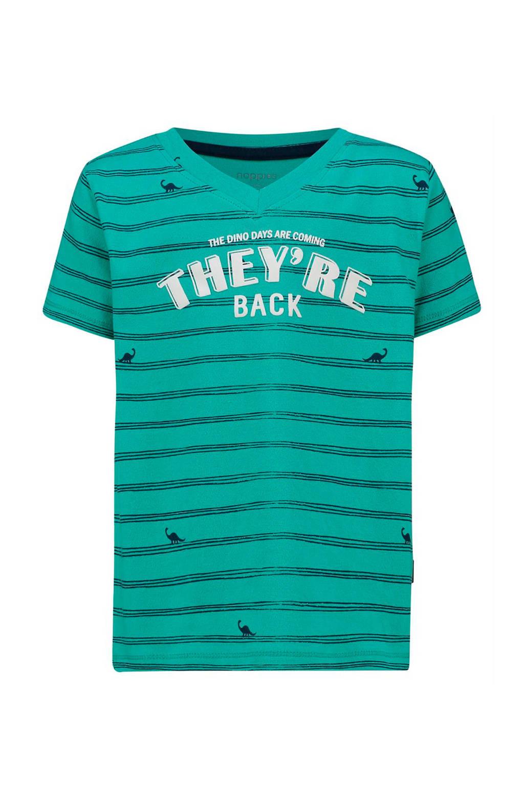 Noppies gestreept T-shirt Joplin van biologisch katoen groen/donkerblauw/wit, Groen/donkerblauw/wit
