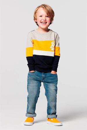 sweater Cambodilo donkerblauw/geel/grijs