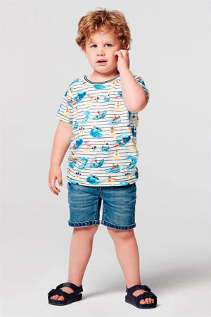 regular fit jeans bermuda Mililani Town stonewashed/donkerblauw/wit