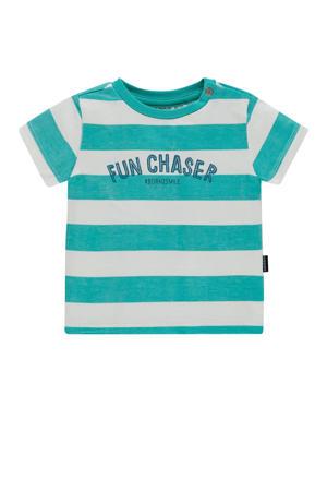 baby gestreept T-shirt Marshall met biologisch katoen blauw/wit/donkerblauw