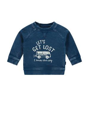 baby sweater Arden hills met printopdruk blauw/ecru