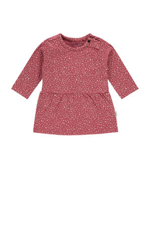 jersey jurk Carmichael met all over print en plooien koraalrood/grijs
