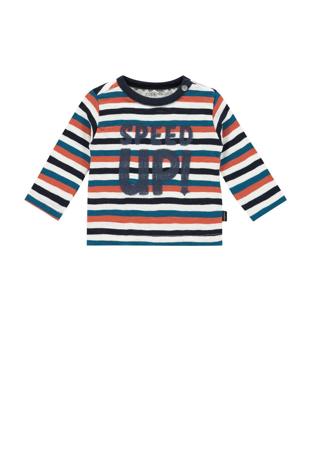 Noppies baby gestreepte longsleeve Apple valley wit/donkerblauw/blauw, Wit/donkerblauw/blauw