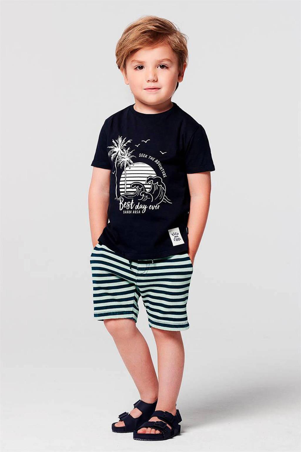 Noppies regular fit T-shirt Jennings van biologisch katoen donkerblauw/wit, Donkerblauw/wit
